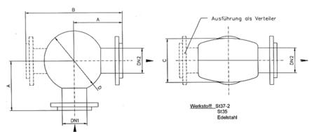 Maßblatt Umlenktopf mit Verschleißeinsatz Type: FRU - VE